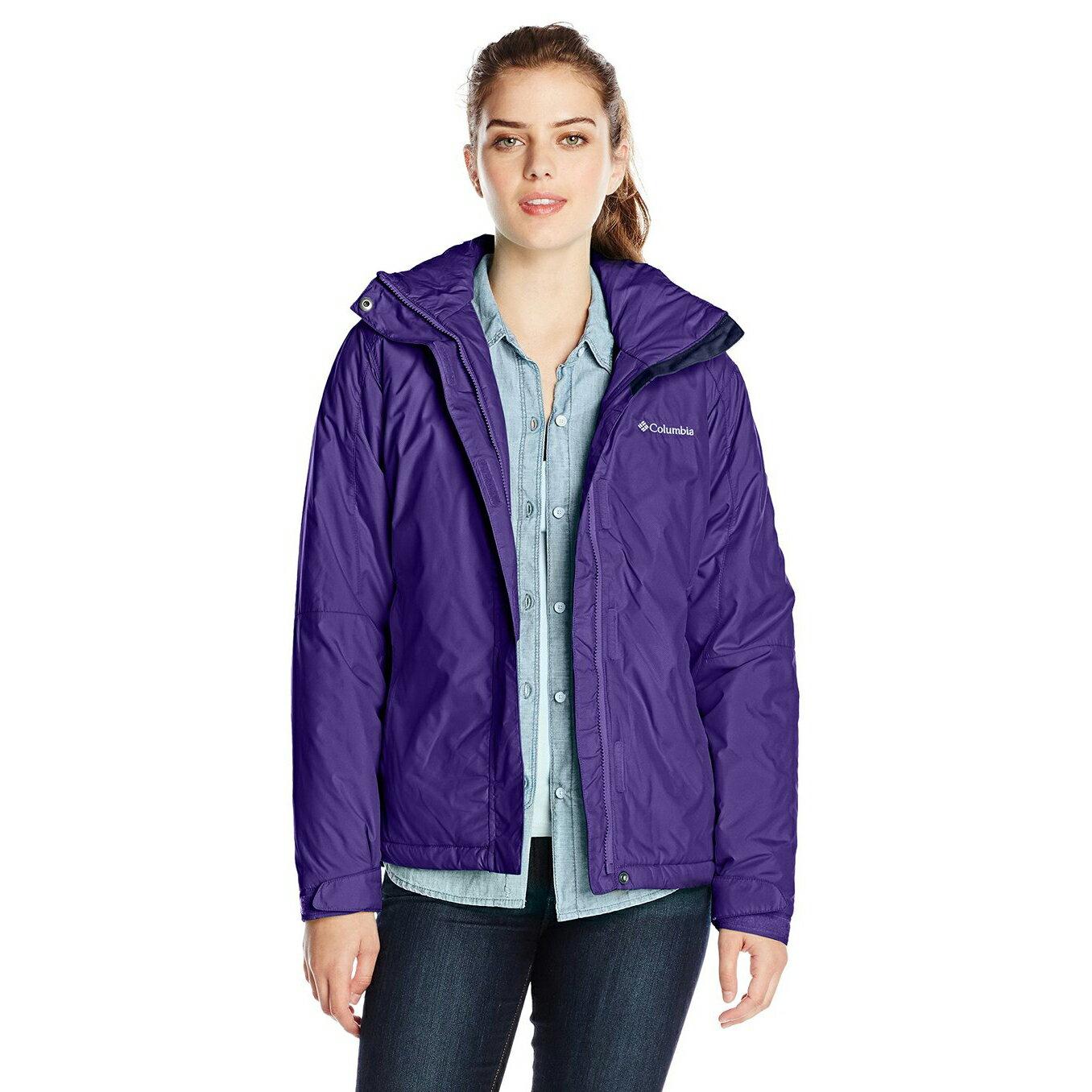 美國百分百【全新真品】Columbia 外套 夾克 連帽外套 哥倫比亞 紫色 單件式 防水 透氣 女款 M號 E407