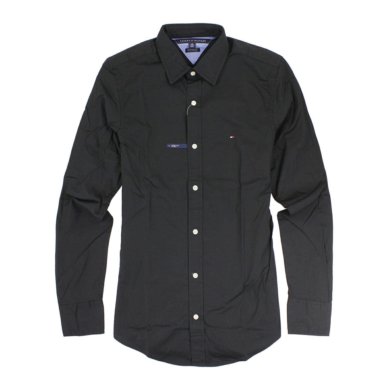 美國百分百【全新真品】Tommy Hilfiger 襯衫 TH 黑色 上衣 男衣 長袖 襯衫 專櫃 XXS B886
