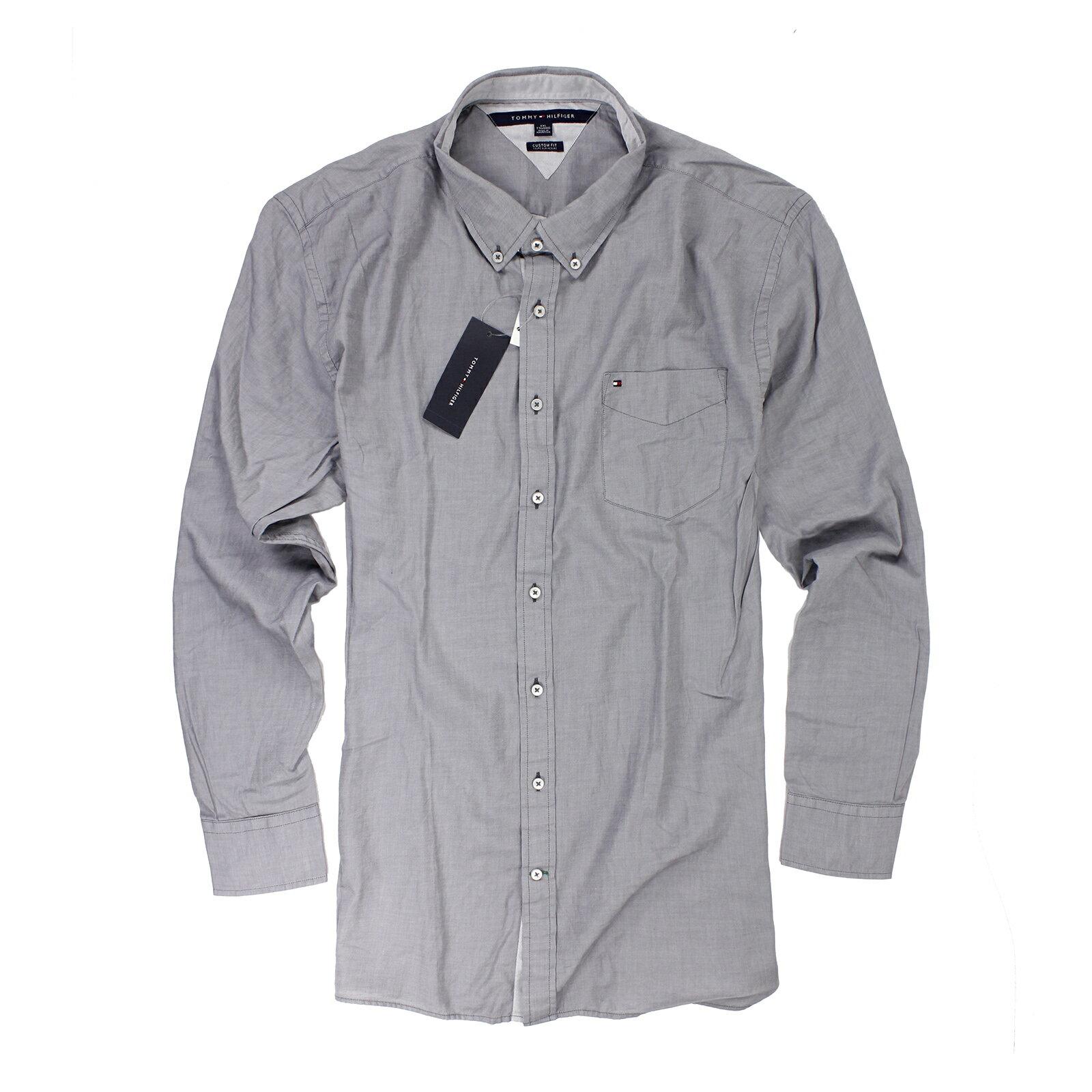 美國百分百【全新真品】Tommy Hilfiger 襯衫 TH 灰 口袋 上衣 男衣 長袖 襯衫 專櫃 XL B887