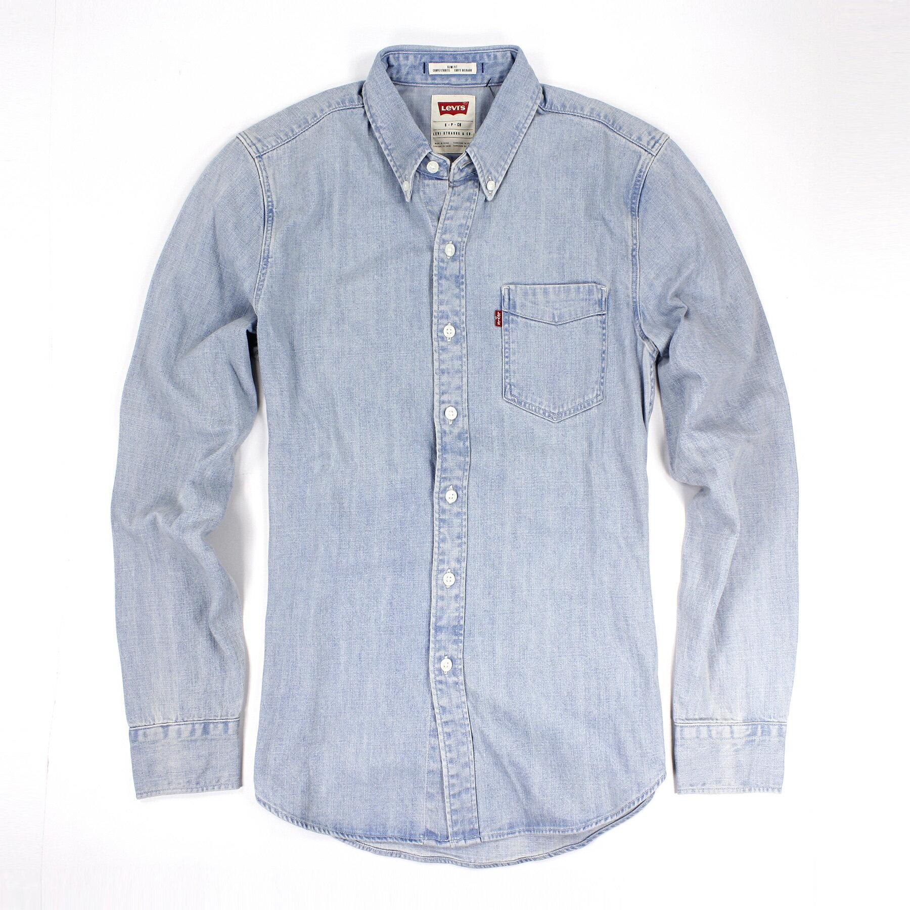 美國百分百【全新真品】Levis 襯衫 牛仔 口袋 經典 休閒 上衣 男衣 長袖 藍色 專櫃 S號