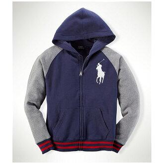 美國百分百【Ralph Lauren】外套 RL polo 大馬 連帽 夾克 深藍 灰 男 S號 C458