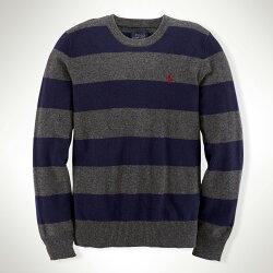 美國百分百【全新真品】Ralph Lauren 針織衫 RL polo 小馬 條紋 線衫 深藍 灰 XS S C462