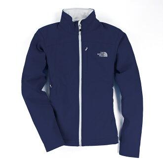 美國百分百【The North Face】女衣 保暖 登山 戶外 防風 外套 防水 軟殼 夾克 深藍 S號 E404