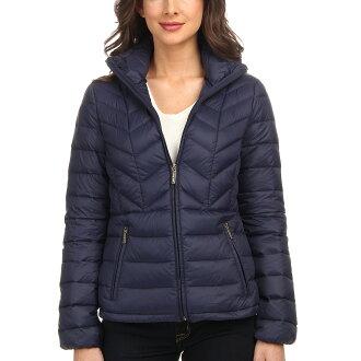 美國百分百【全新真品】Michael Kors 外套 MK 羽絨 外套 連帽 輕量 深藍 收納 專櫃 女 S號 E432