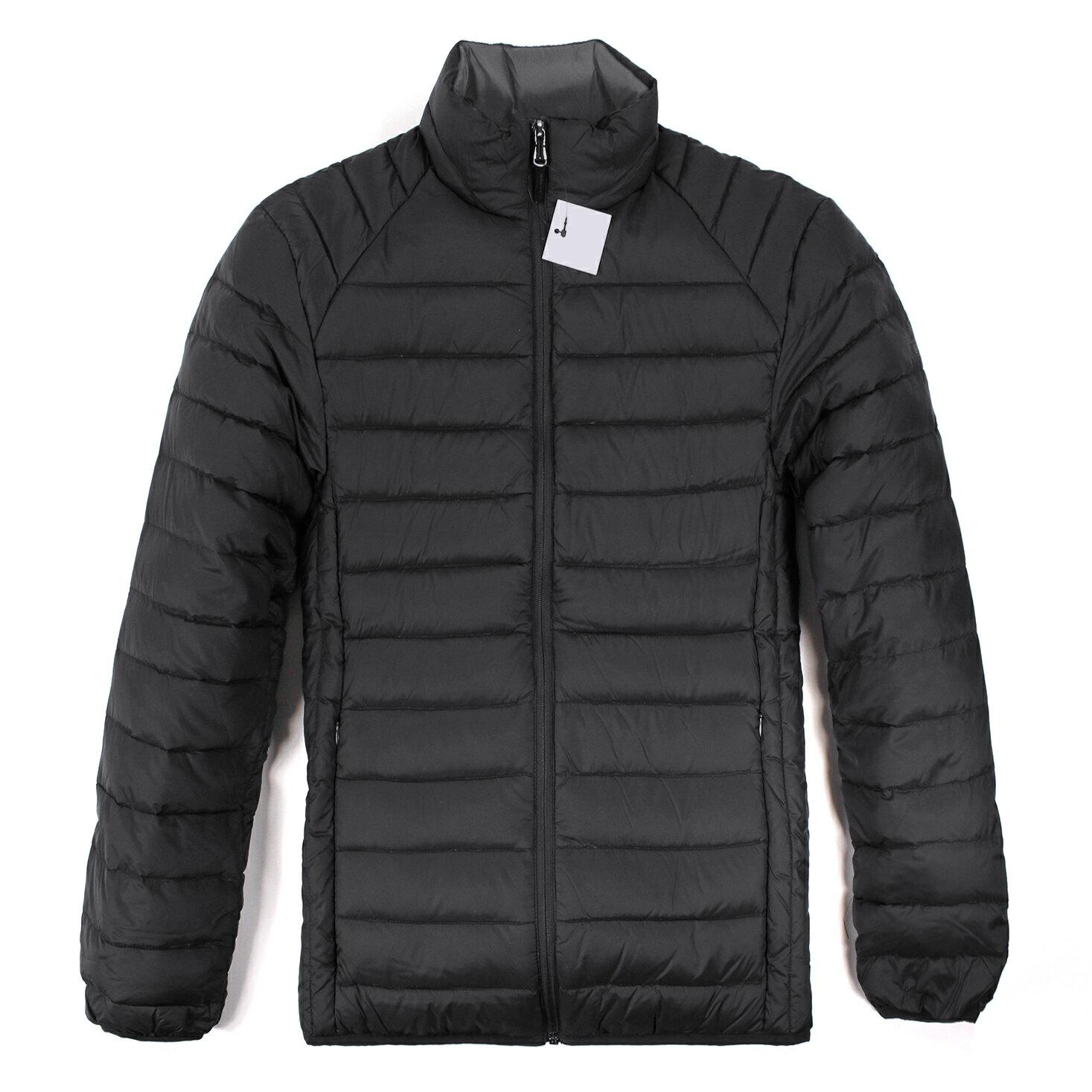 美國百分百【全新真品】Calvin Klein CK 男 輕量 保暖 羽絨 外套 夾克 外衣 黑色 S M號 E434