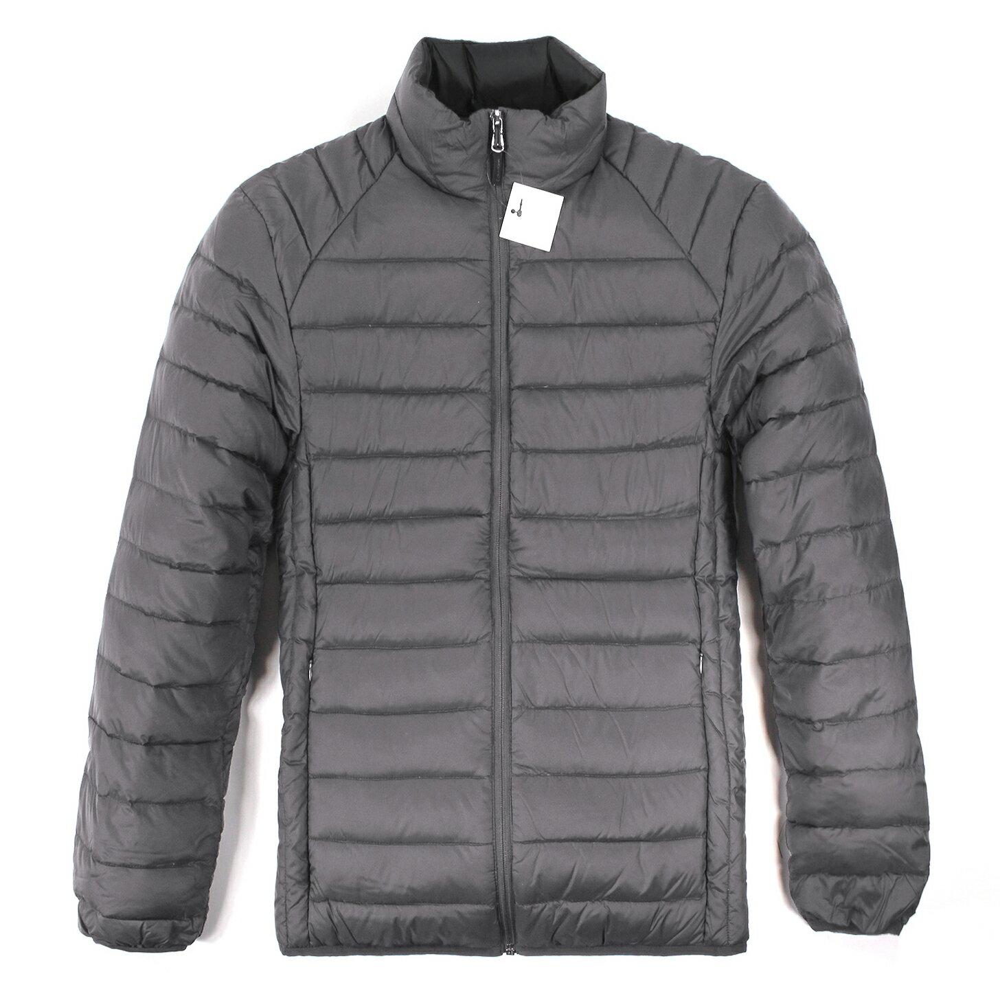 美國百分百【全新真品】Calvin Klein CK 男 輕量 保暖 羽絨 外套 夾克 外衣 灰色 S M號 E434