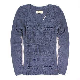 美國百分百【全新真品】Hollister Co. HCO 海鷗 V領 灰藍色 毛衣 針織衫 線衫 S號 女 E440