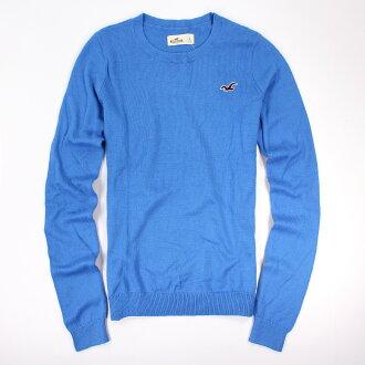 美國百分百【全新真品】Hollister Co. HCO 海鷗 圓領 藍色 毛衣 針織衫 線衫 L號 女 E441