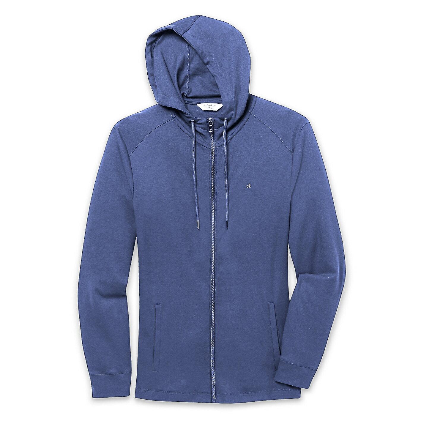 美國百分百【全新真品】Calvin Klein 外套 CK 夾克 薄 連帽 合身 灰 藍色 男 M號 E450