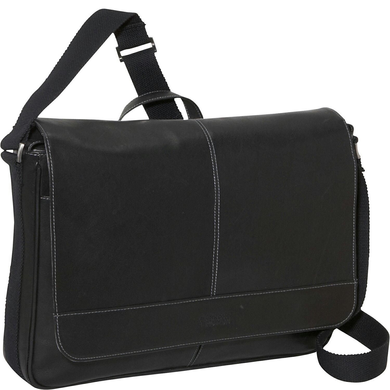 美國百分百【全新真品】Kenneth Cole 側背包 KC 公事包 黑色 小牛皮 手提包 電腦包 商務 男包 E467