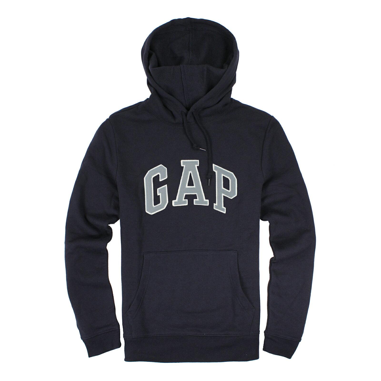 美國百分百【全新真品】GAP 帽T 上衣 外套 長袖 連帽 LOGO 貼布 深藍 現貨 男 M號 E463