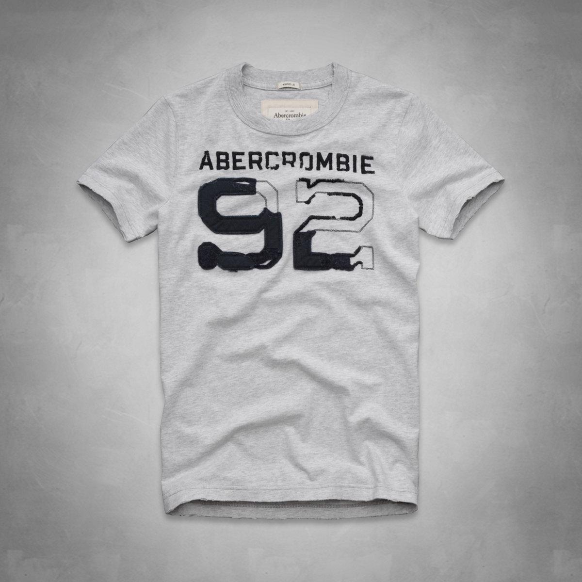 美國百分百【全新真品】Abercrombie & Fitch T恤 AF 短袖 T-shirt 麋鹿 灰 圓領 復古 數字 男 L XL號
