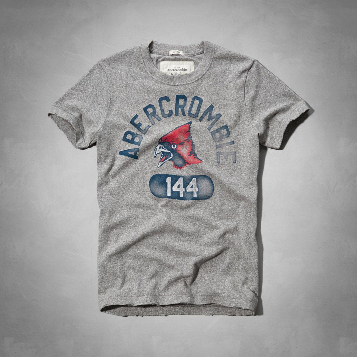 美國百分百【全新真品】Abercrombie & Fitch T恤 AF 短袖 T-shirt 麋鹿 灰 圓領 復古 動物 男 L號