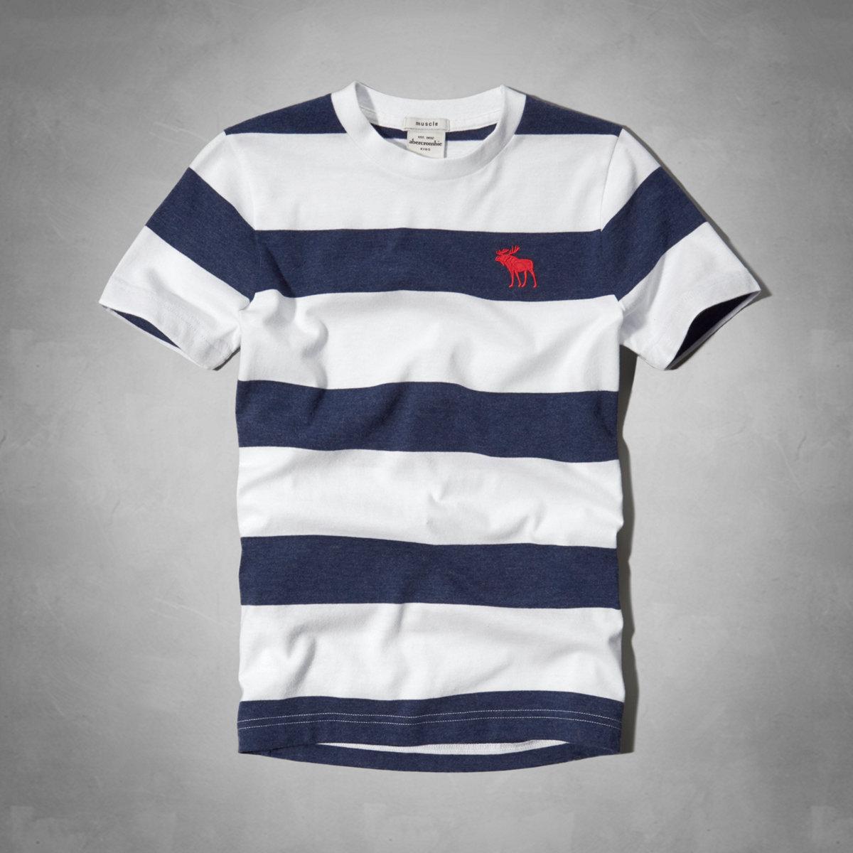 美國百分百【全新真品】Abercrombie & Fitch T恤 AF 短袖 T-shirt 麋鹿 藍 條紋 Logo 男 女 Kids S號