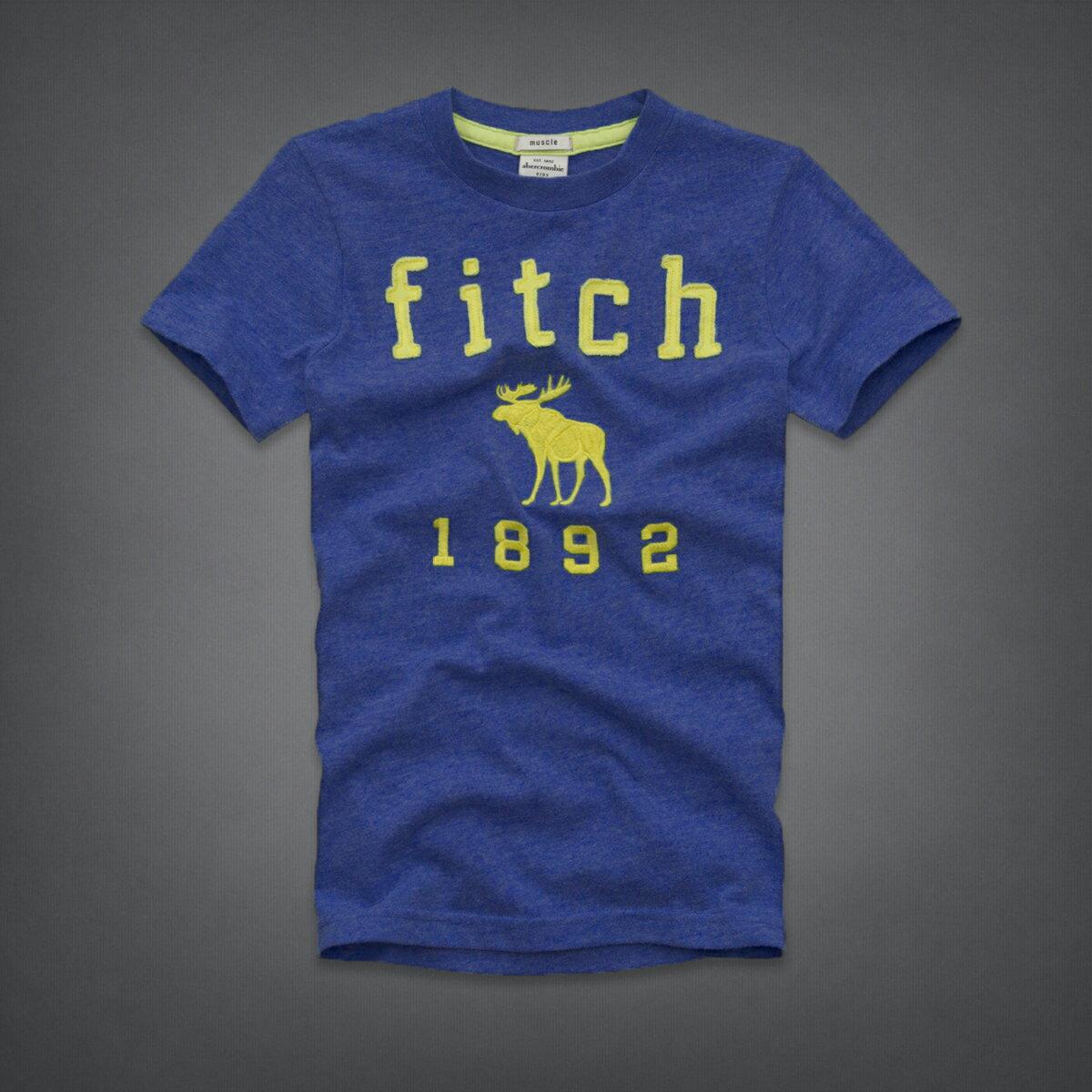 美國百分百【全新真品】Abercrombie & Fitch T恤 AF 短袖 T-shirt 麋鹿 寶藍 Logo 男 女 Kids XS號