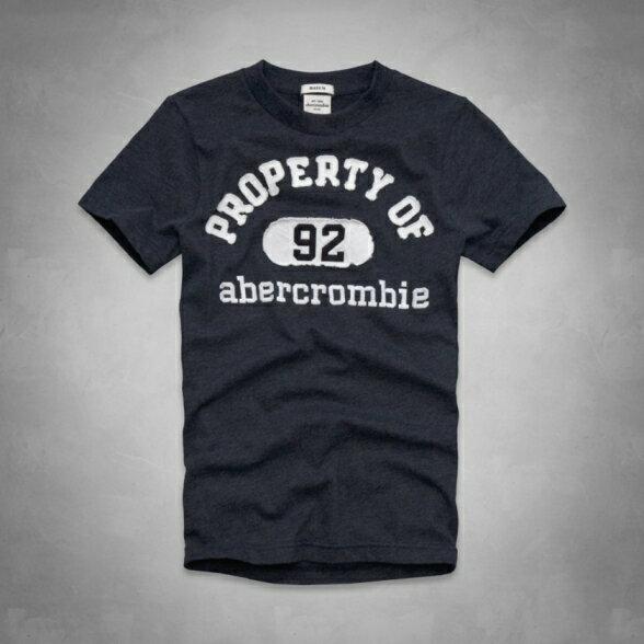 美國百分百【全新真品】Abercrombie & Fitch T恤 AF 短袖 T-shirt 麋鹿 深藍 文字 拼布 男 女 Kids XS號