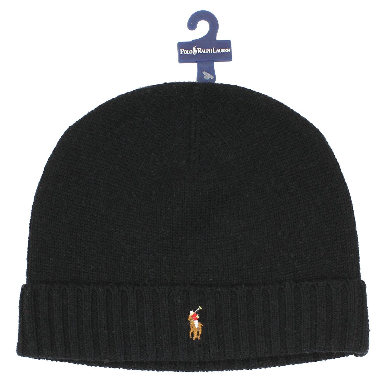 美國百分百【全新真品】Ralph Lauren 彩馬 羊毛 毛線帽 針織 毛帽 配件 RL Polo 黑色 B351