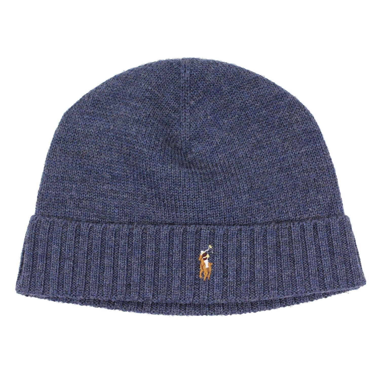 美國百分百【全新真品】Ralph Lauren 彩馬 羊毛 毛線帽 針織 毛帽 配件 RL Polo 藍 灰 B351