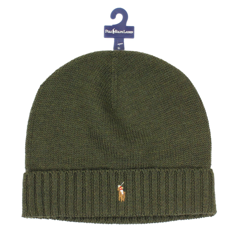 美國百分百【全新真品】Ralph Lauren 彩馬 羊毛 毛線帽 針織 毛帽 配件 RL Polo 軍綠 B351