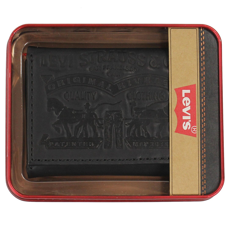 美國百分百【全新真品】Levis 皮夾 短夾 黑 浮雕 鐵盒 真皮 鈔票 三折 皮包 Logo 男夾 復刻 B540