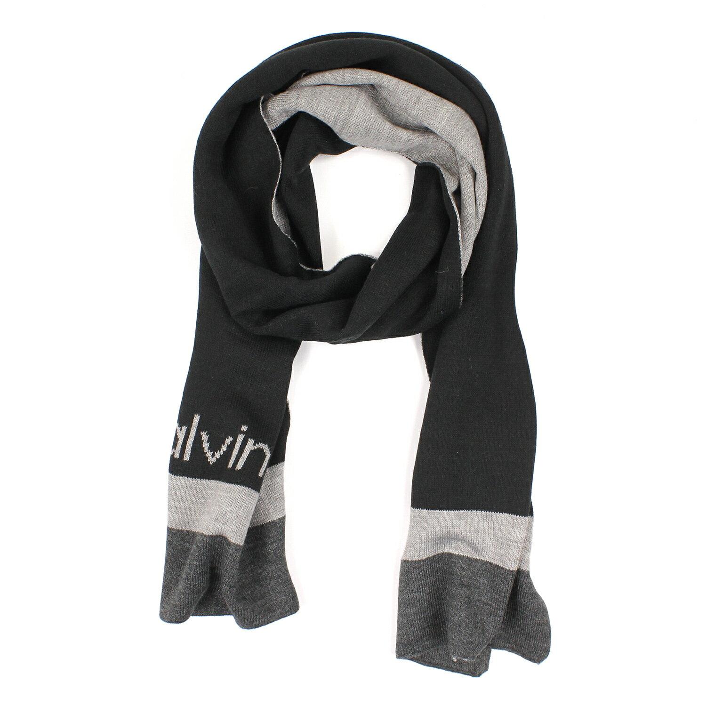 美國百分百【全新真品 】Calvin Klein 圍巾 CK 披肩 披巾 黑色 灰 條紋 針織 色塊 男 C488