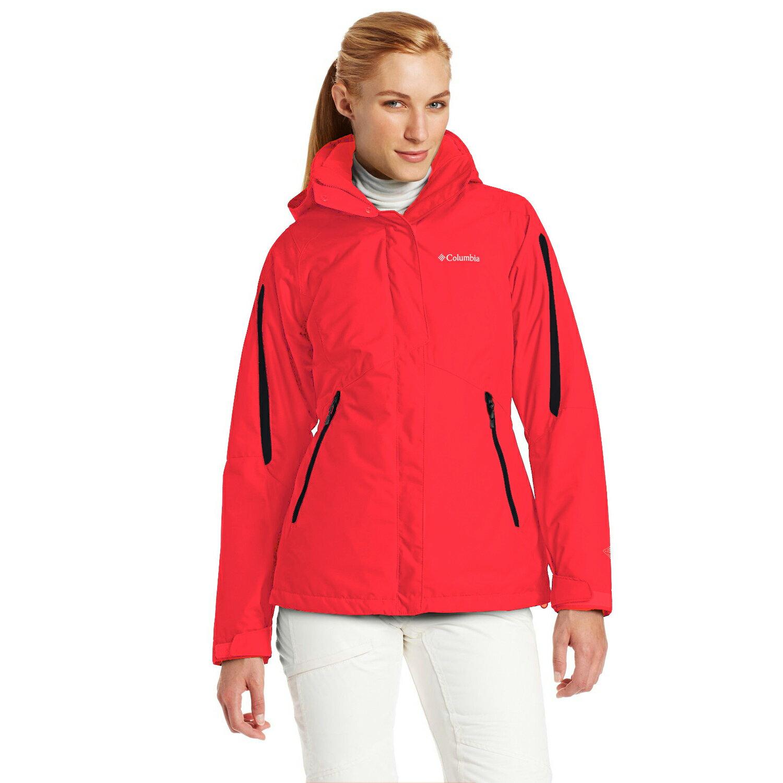 美國百分百【全新真品】Columbia 外套 夾克 連帽外套 哥倫比亞 紅色 兩件式 防水 透氣 女款 S M E357