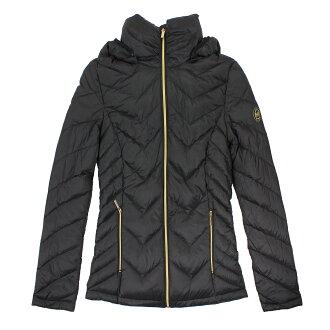 美國百分百【全新真品】Michael Kors 外套 MK 羽絨 外套 連帽 輕量 黑色 收納 專櫃 女 M號 E433
