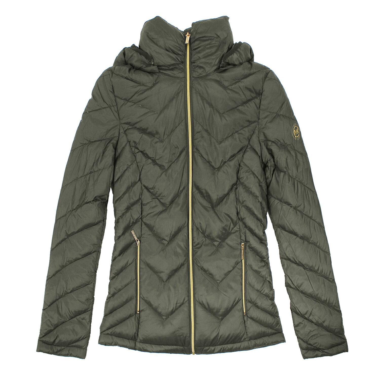 美國百分百【全新真品】Michael Kors 外套 MK 羽絨 外套 連帽 輕量 綠 收納 專櫃 女 S號 E433