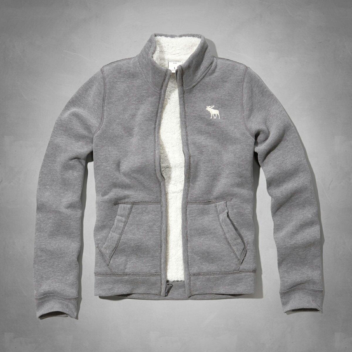 美國百分百~Abercrombie   Fitch~外套 AF 立領 灰色 夾克 麋鹿 刷