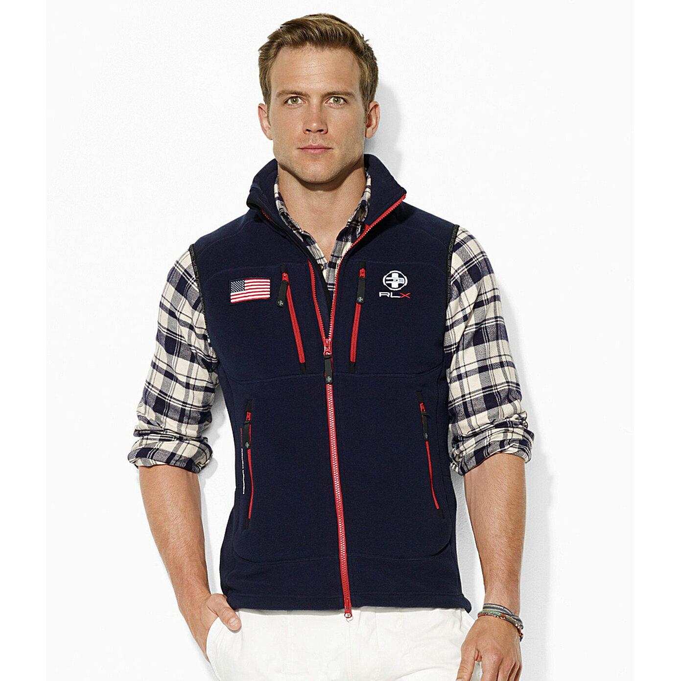 美國百分百【全新真品】Ralph Lauren 背心 RLX 上衣 刷毛 Polo 國旗 運動 男 深藍 M號 E475