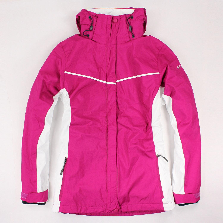 美國百分百【全新真品】Columbia 外套 夾克 連帽 哥倫比亞 洋紅色 兩件式 防水 女 XS S M L E480