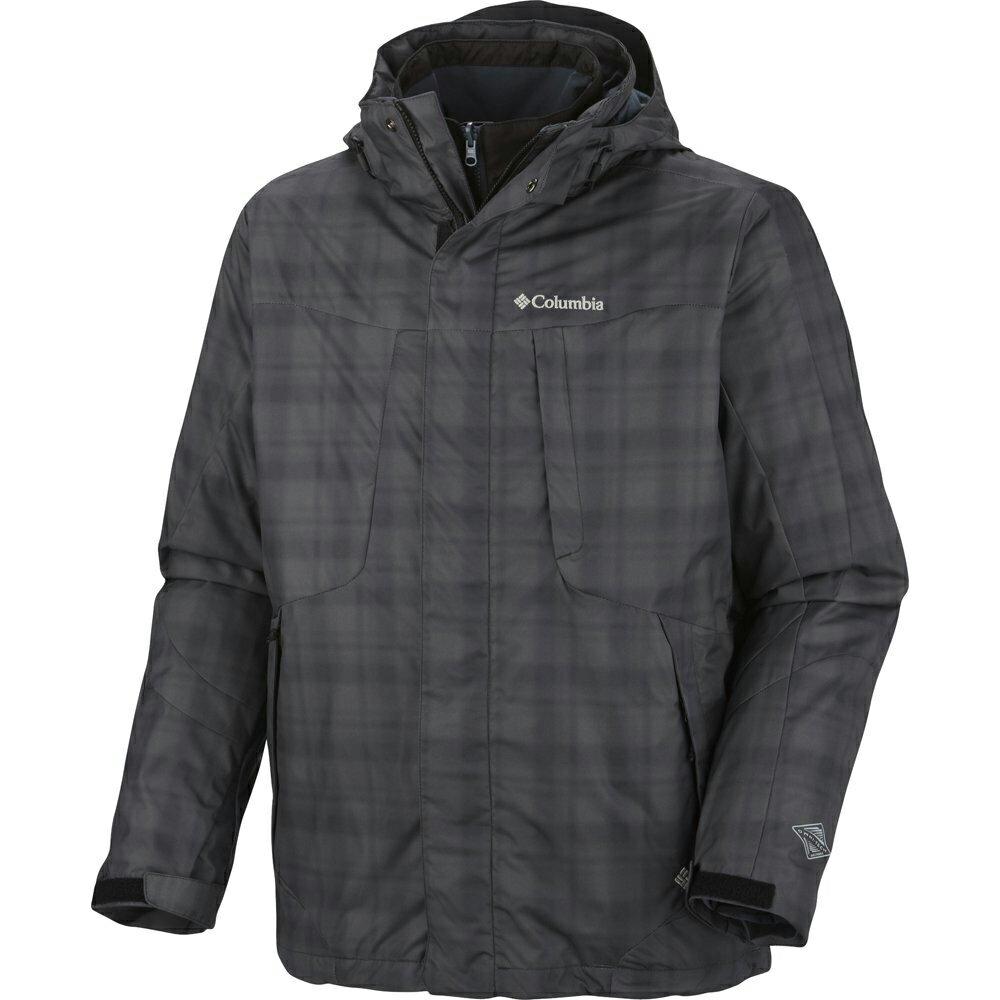 美國百分百【全新真品】Columbia 外套 夾克 連帽 哥倫比亞 登山 滑雪 藍 綠 兩件式 防水 男 XL E481