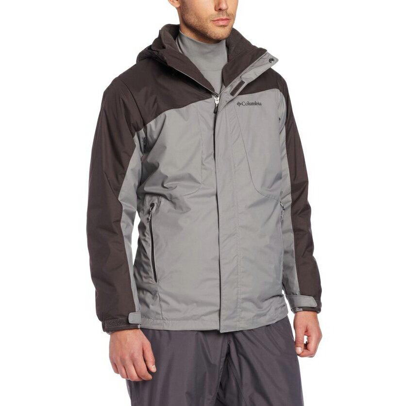 美國百分百【全新真品】Columbia 外套 夾克 連帽 哥倫比亞 登山 滑雪 咖啡 兩件式 防水 男 XXL E482