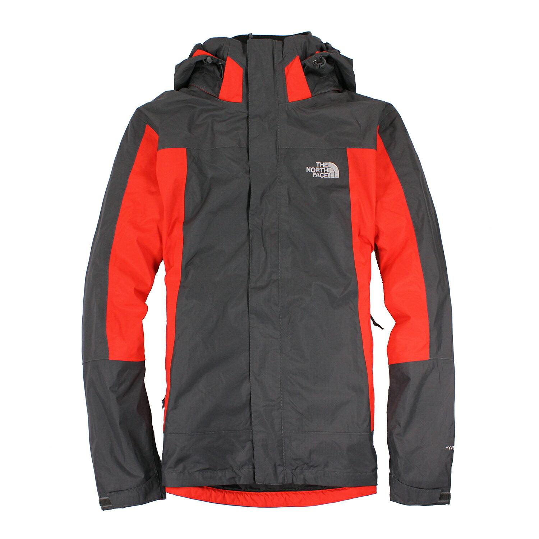 美國百分百【The North Face】外套 TNF 連帽 夾克 防水 兩件式 透氣 紅 深灰 S L號 E483