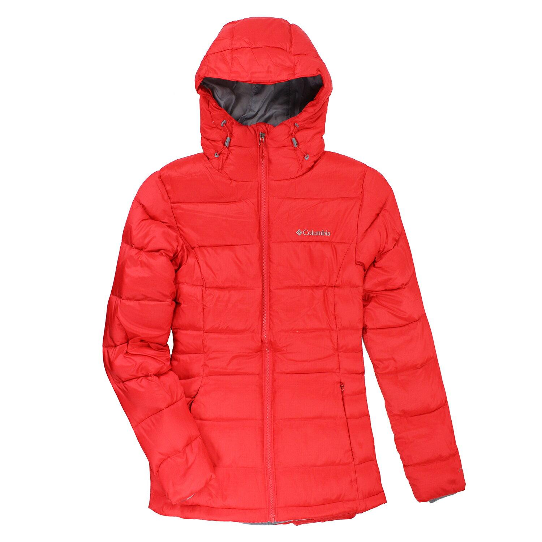 美國百分百【全新真品】Columbia 羽絨 外套 夾克 連帽 哥倫比亞 登山 滑雪 HEAT 防水 紅色 女 S號 E485