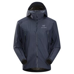 美國百分百【全新真品】Arc'teryx 外套 GORE-TEX 連帽 始祖鳥 防水 防風 透氣 男 深藍 S E488