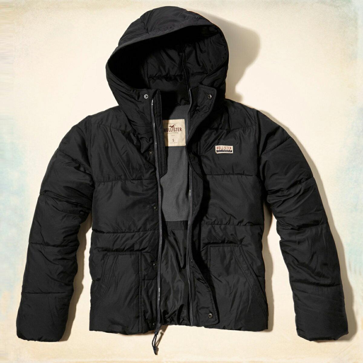 美國百分百【全新真品】Hollister Co. HCO 海鷗 男 深藍 休閒 鋪棉 保暖 連帽 外套 S號 E491