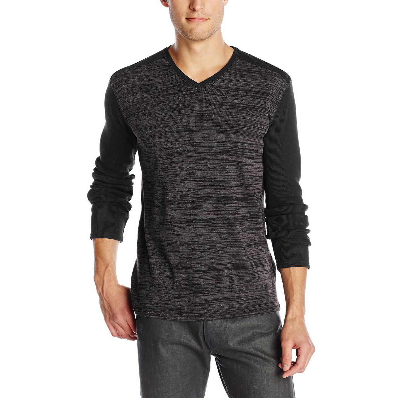 美國百分百【全新真品】Calvin Klein 針織衫 CK 長袖 T恤 上衣 黑色 素面 V領 XL號 E503