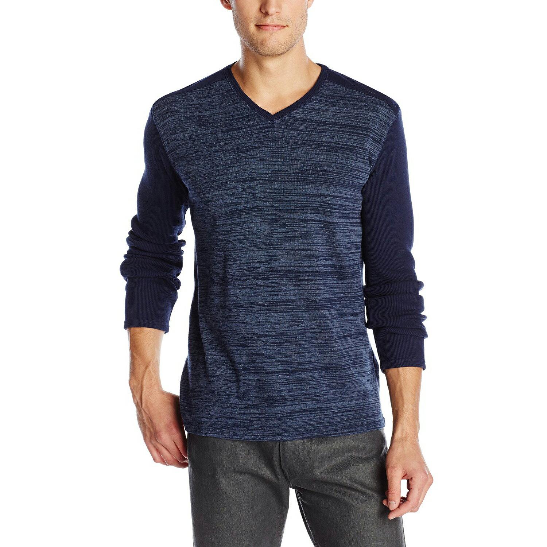美國百分百【全新真品】Calvin Klein 針織衫 CK 長袖 T恤 上衣 深藍色 素面 V領 M L號 E503