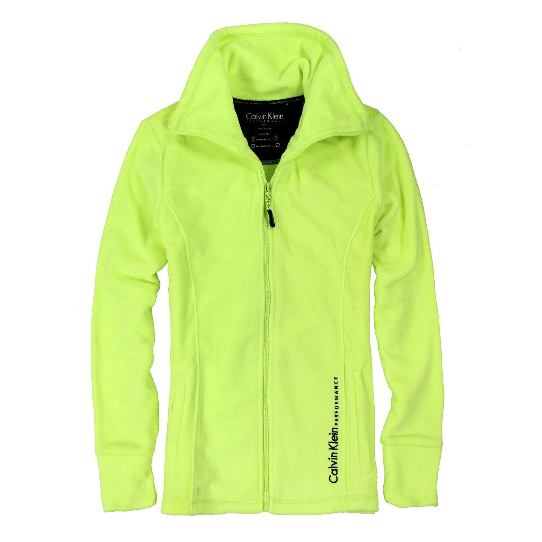 美國百分百【全新真品】Calvin Klein 外套 CK 刷毛 輕巧 快乾 保暖 運動 螢光 黃 S號 女 E505