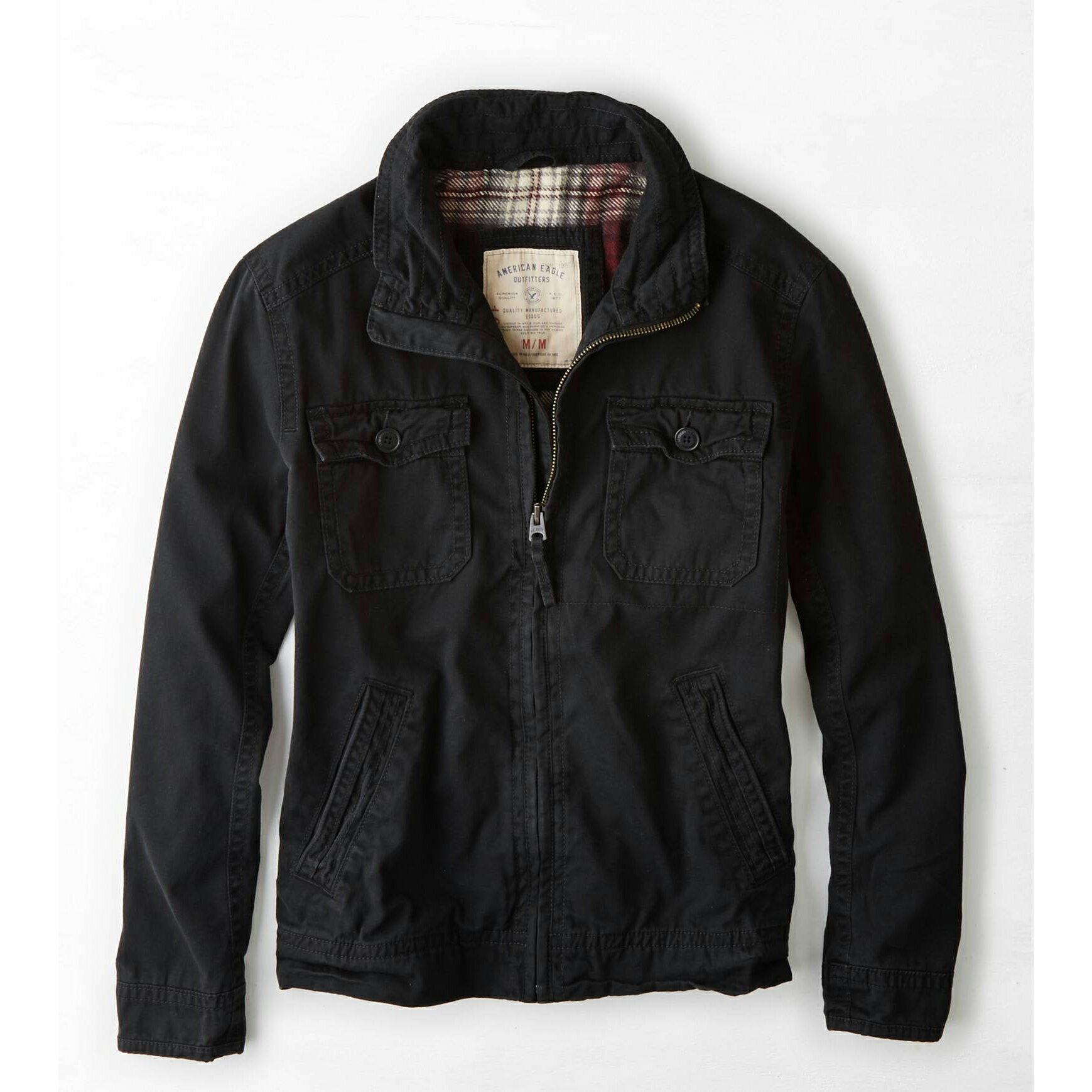 美國百分百【全新真品】American Eagle AE 老鷹 外套 軍外套 短大衣 夾克 男 黑色 M號 E507
