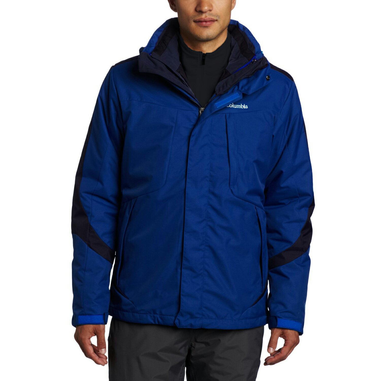 美國百分百【全新真品】Columbia 外套 夾克 連帽 哥倫比亞 登山 藍色 兩件式 防水 男 M號 E517
