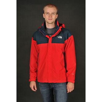 美國百分百【The North Face】外套 TNF 連帽 夾克 Hyvent 防水 兩件式 透氣 紅藍 M E519