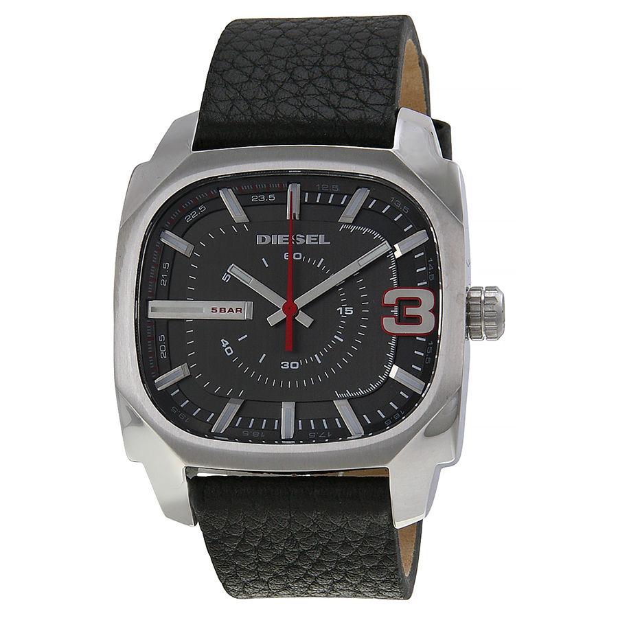 美國百分百【全新真品】Diesel 配件 手錶 腕錶 金屬 運動 男錶 石英 設計 時尚 皮帶 霧面 皮質錶帶 E524