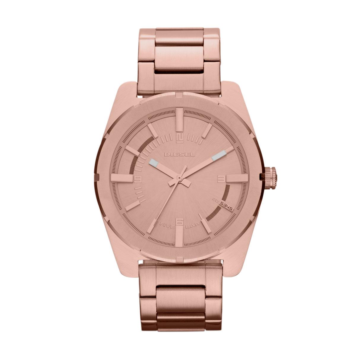 美國百分百【全新真品】Diesel 配件 手錶 腕錶 金屬 個性 女錶 石英 設計 時尚 不鏽鋼 玫瑰金 E525