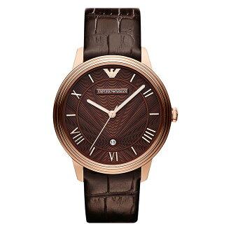 美國百分百【Emporio Armani】配件 手錶 腕錶 男錶 石英 品味 時尚 不鏽鋼 咖啡 皮質 皮帶 E527