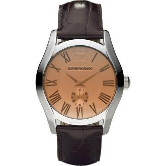 美國百分百【Emporio Armani】配件 手錶 腕錶 男錶 石英 品味 時尚 不鏽鋼 咖啡 皮質 皮帶 E528