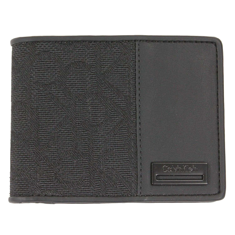 美國百分百【全新真品】Calvin Klein 皮夾 CK 短夾 黑 提花布 二折 皮革 質感 鈔票 專櫃 男 E538