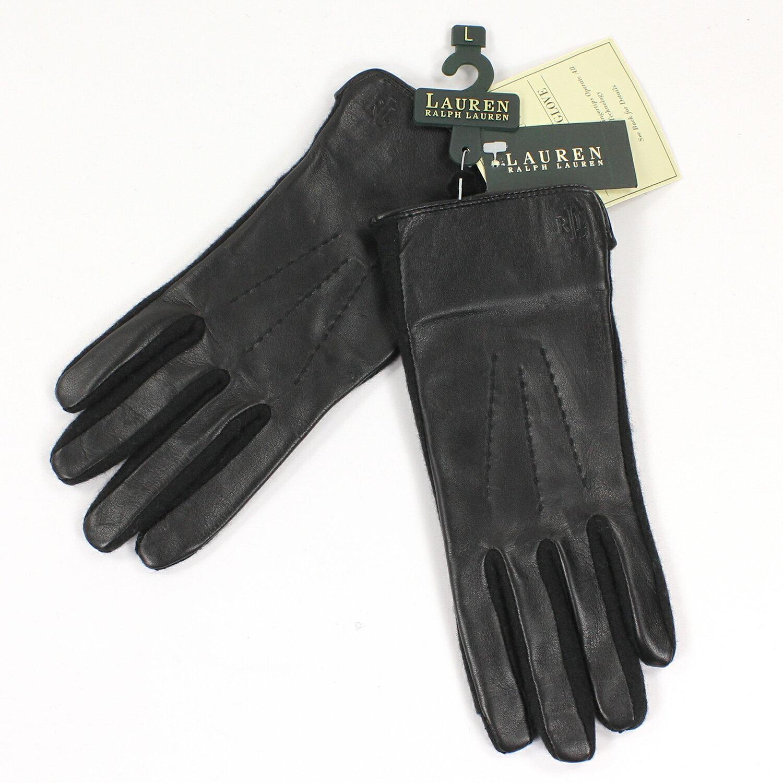 美國百分百【全新真品】Ralph Lauren 手套 RL 配件 羊毛 真皮 Polo 女 黑 S M L號 E548