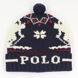 美國百分百【全新真品】Ralph Lauren 羊毛 毛線帽 針織 毛帽 配件 男 雪花 RL Polo 深藍 E559